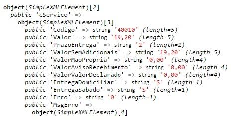 calculo de frete com xml